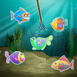 タイミングよく釣り針を投げて魚を釣り上げよう!