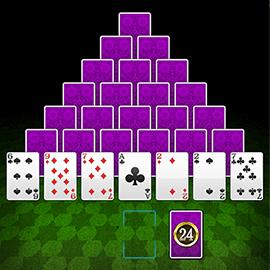 ピラミッド型に並べたトランプで13を作っていく